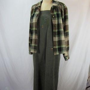 Christopher & Banks Long Dress w/Plaid Jacket M